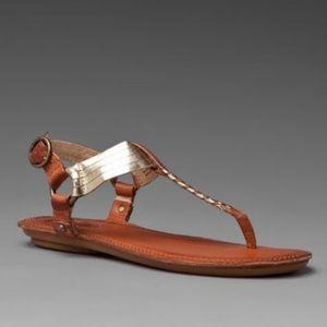 Frye Alessia Artisanal T Strap Woven Sandals 6 M
